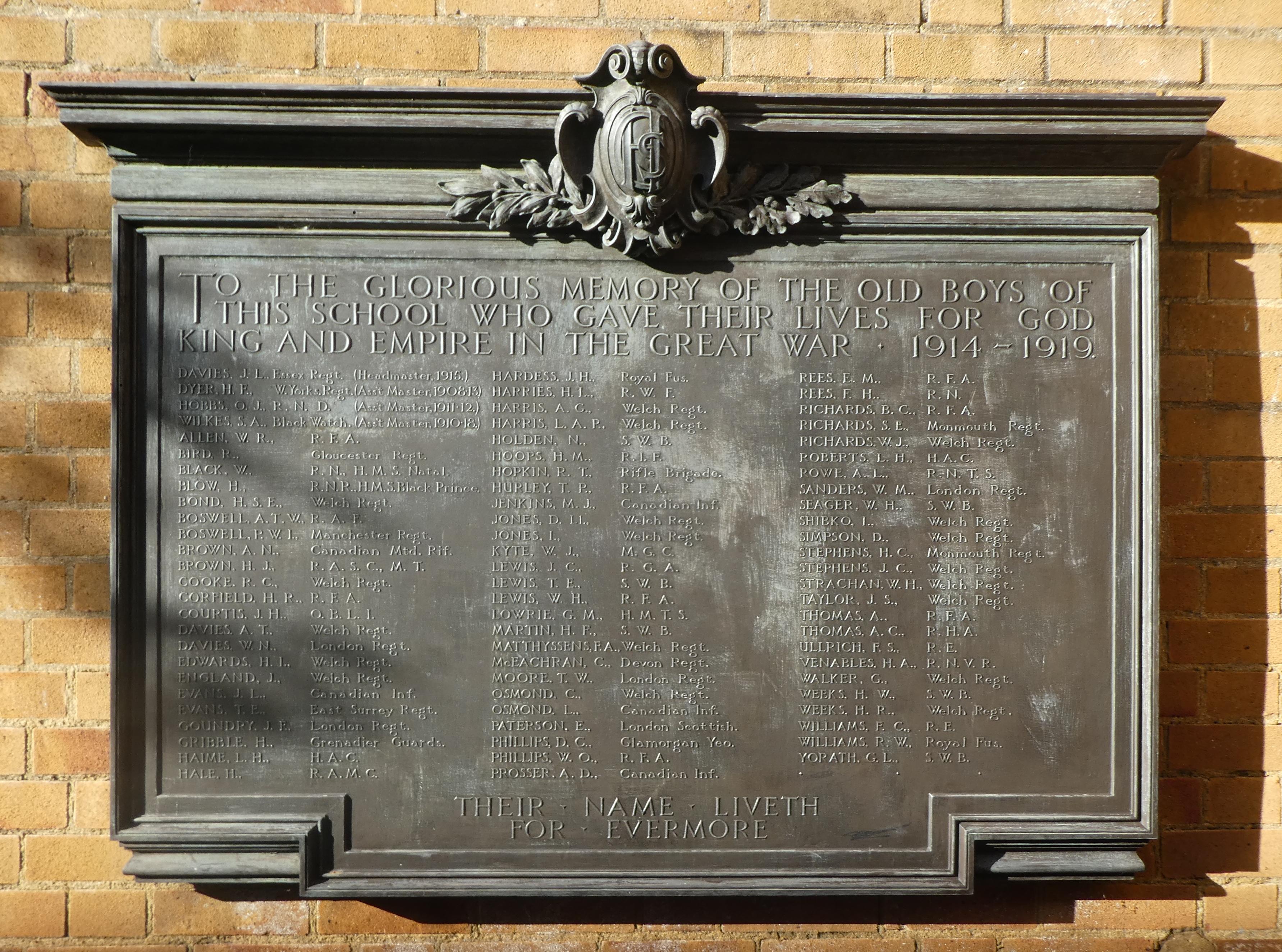 Cardiff High School War Memorial