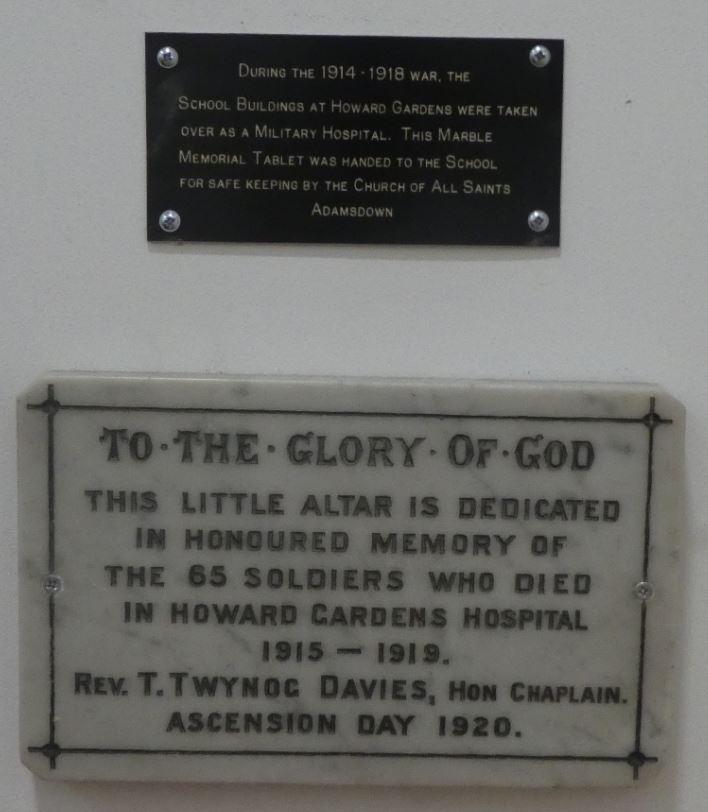 Howard Gardens Military Hospital plaque