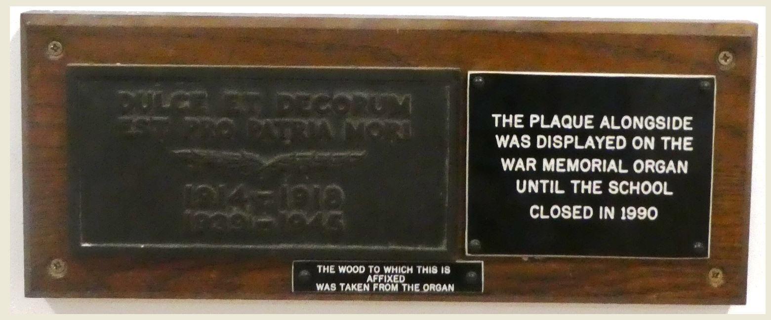 Howard Gardens Organ Plaque