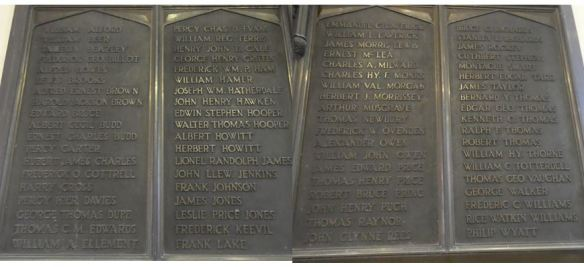 Names on WWI memorial