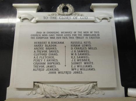Plasnewydd Presbyterian Church WWI memorial plaque
