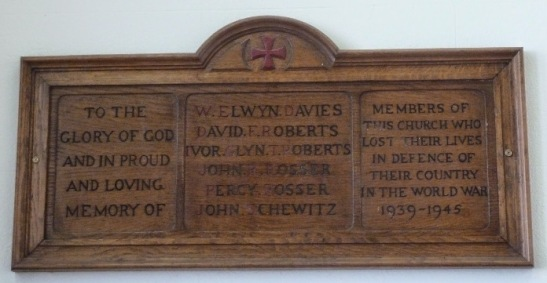 Plasnewydd Presbyterian Church WWII memorial plaque