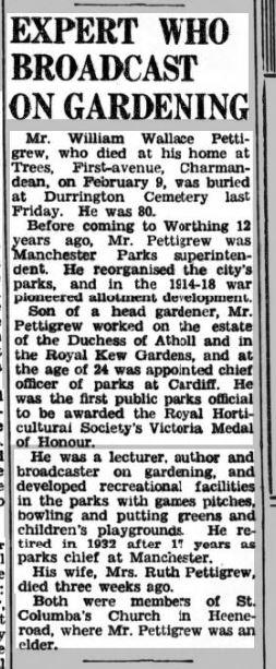 The Herald 21st Feb 1947 Pettigrew Obituary