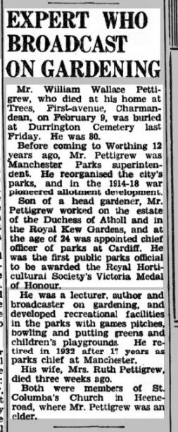The Herald 21st Feb 1947 Pettigrew Obituary