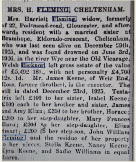 will of harriett fleming
