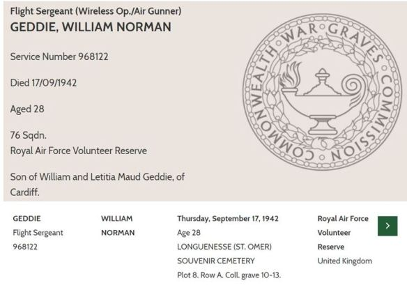 william norman geddie grave information