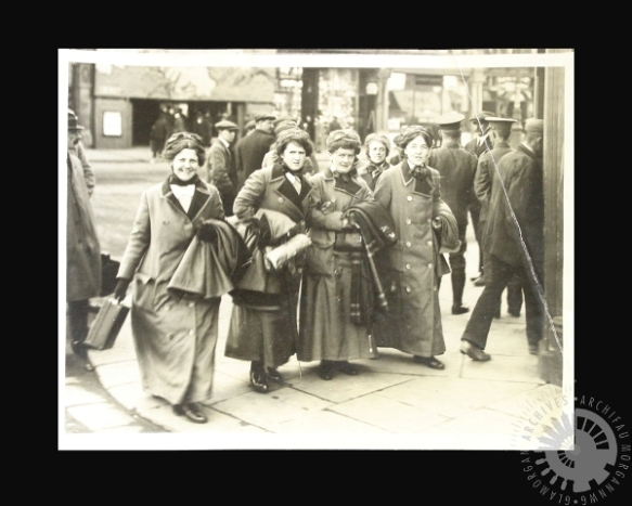 a group of Welsh suffragettes departing from Cardiff to volunteer as nurses with the Serbian Army, sometime in 1