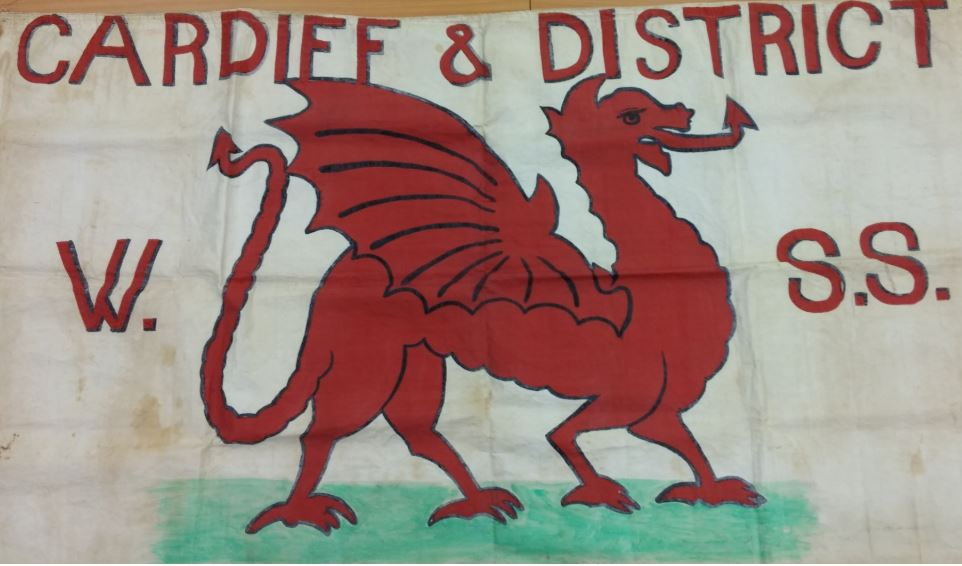 Cardiff and District Women's Suffrage Society banner, 1908