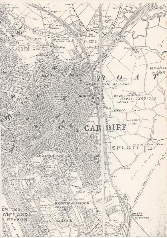 Map of Roath with old placenames superimposed