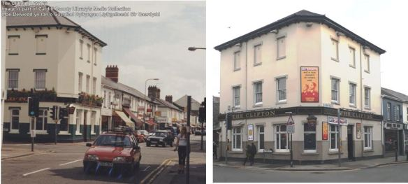 Clifton Hotel, Clifton Street, Roath, Cardiff, collage