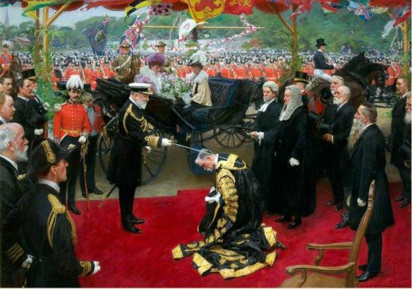 Knighting of William Crossman by King Edward VII in Cardiff by William Hatherell