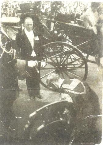 William Crossman being knighted by King Edward 1906