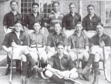 Maurice Turnbull playing hockey at Downside School