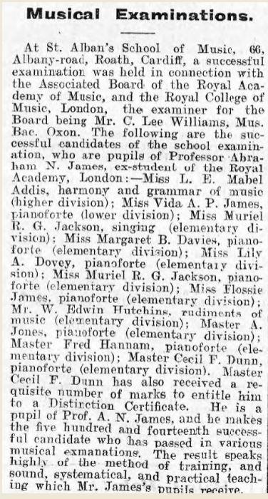 Aberdare Leader 23rd Dec 1905