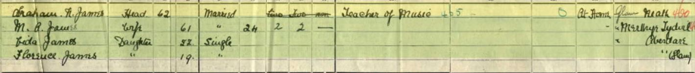 Abraham family in 1911 in Waterloo Road, Cardiff