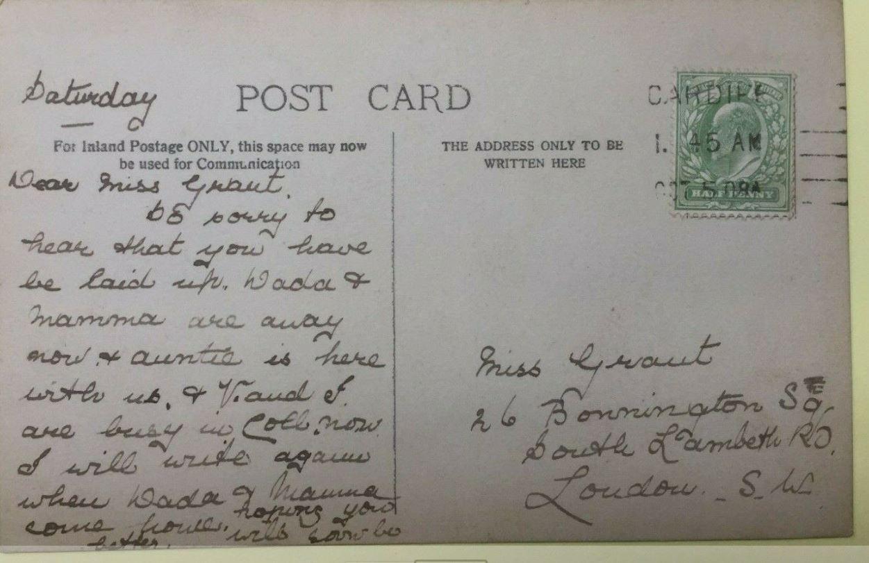 Cardiff postcard Miss Grant 26 Bonnington Square Lambeth