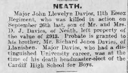 John Llewellyn Davies probate announcment 2nd May 2016 Cambrian Leader