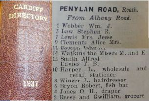 1937 Trade Directory - note those who died did not live there at that stage
