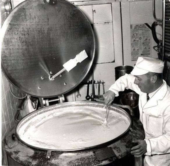 1965 Cyril Thayer (MD of Thayer's Ice Cream) stirs the ice cream