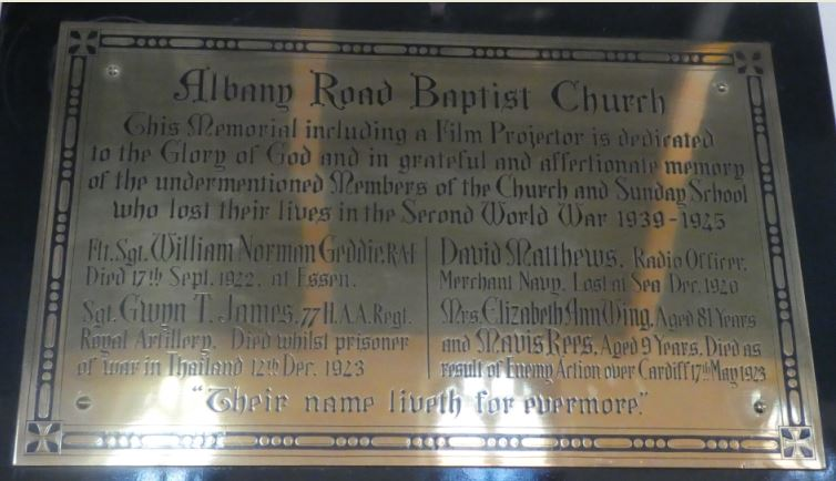 Albany Road Baptist Church war memorial