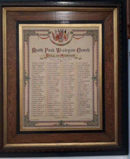 Roath Park Wesleyan Church Roll of Honour a