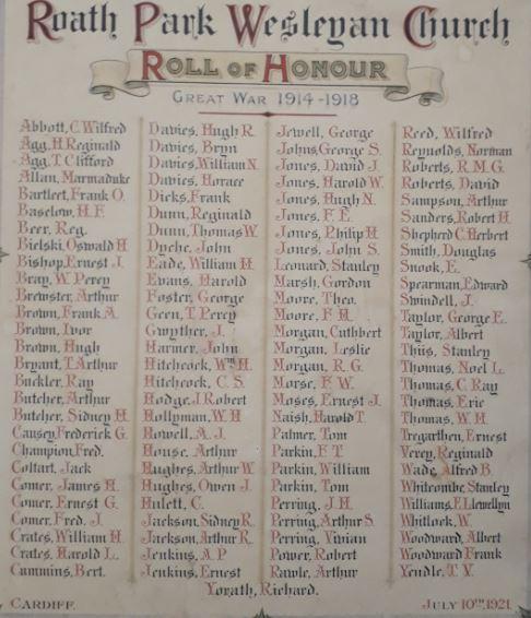 Roath Park Wesleyan Church Roll of Honour