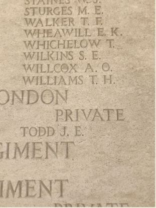 T H Williams on the Tyne Cot Memorial