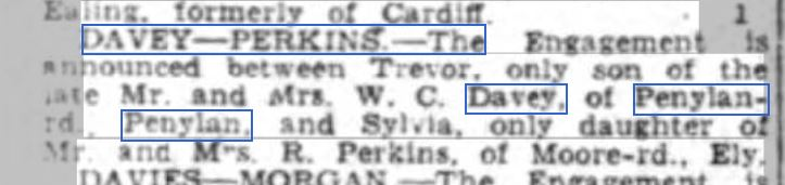 Trevor Davey engagement 7 Jun 1943