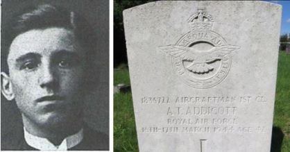 Alfred Tudor Addicott and headstone