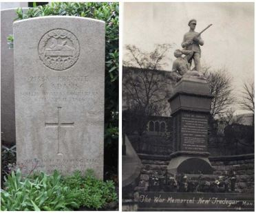 Charles adams grave and New Tredegar war memorial