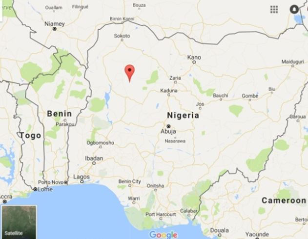 Nigeria and Norman Biggs place of death marked by red pin