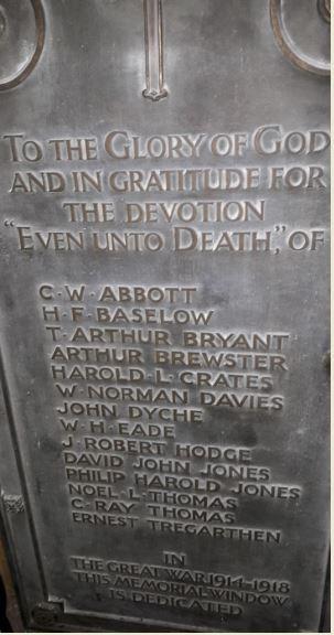 Roath Park Wesleyan Church War Memorial Plaque