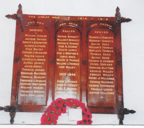 St ederyn's War Memorial plaque