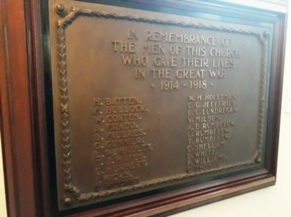 Cathays Methodist Church, Crwys Road, war memorial