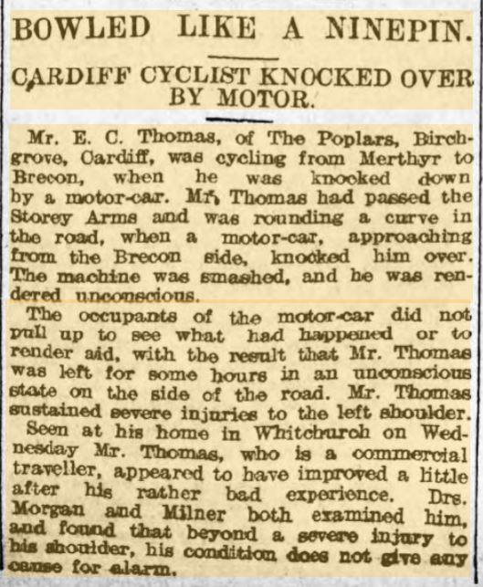 F2 Evan Christmas Thomas 22 Jun 1907 Weekly Mail - Cycling accident
