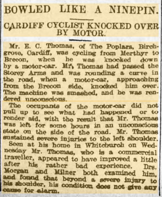 F2 Evan Christmas Thomas 22 Jun 1907 Weekly Mail - Cycling accident