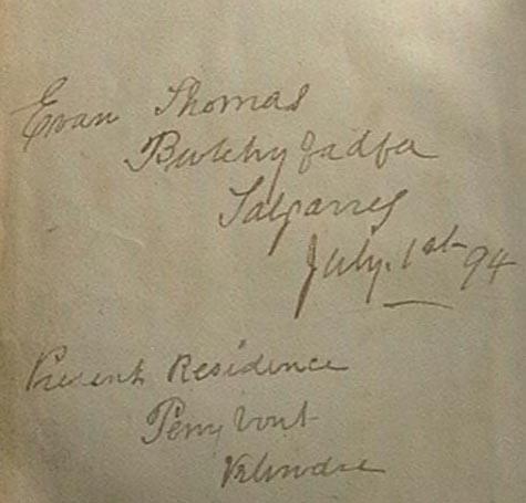 F2 Evan Thomas 1894 bible inscription