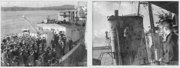 HMS Onslow back home after the battle in 1943