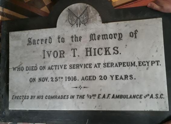 Ivor Hicks Memorial plaque, Cathays Methodist church