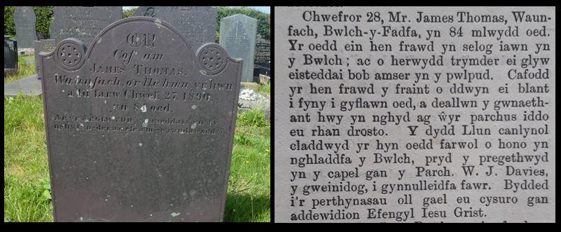 James Thomas headstone and obit