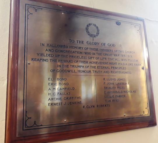 Roath Park Congregational Church WWI plaque