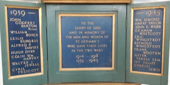 St German's Cardiff WWII memorial plaque