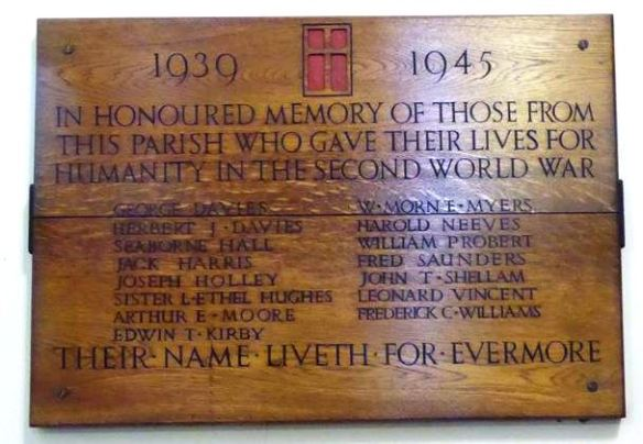 St Saviour's WWII plaque