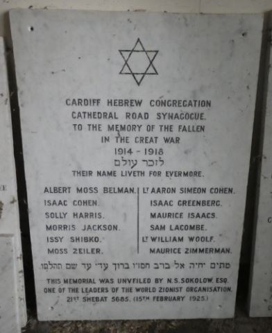 Cardiff Cathedral Road Synagogue War Memorial