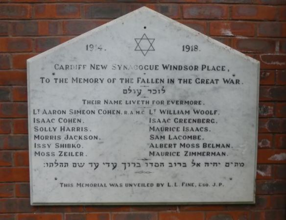 Cardiff United Synagogue WWI memorial plaque