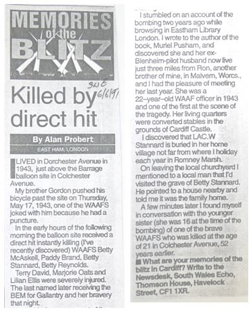 Newspaper Article on Colchester Avenue WAAF Victims
