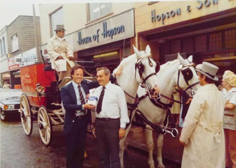 Publicity shot outside Hopson & Son, Albany Road, Cardiff