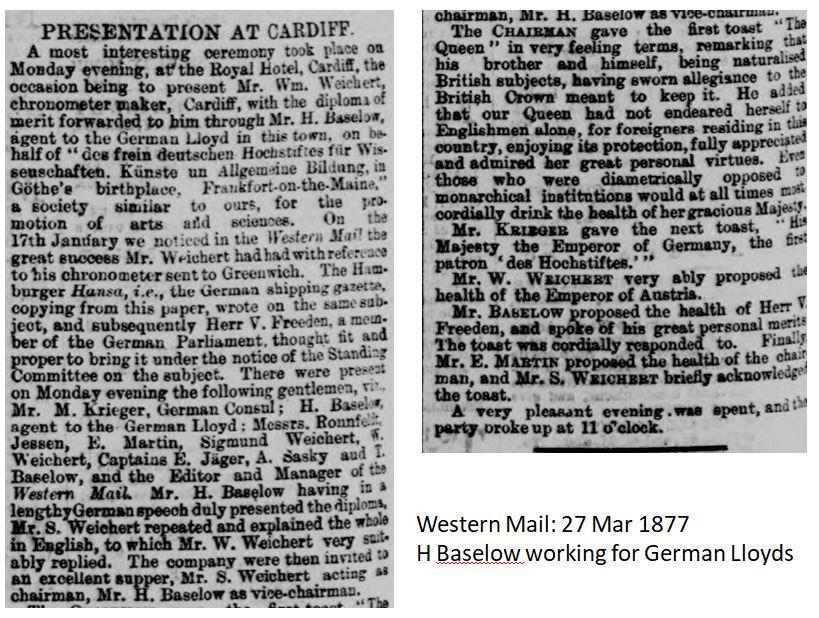 1877 H Baselow working for Geman Lloyds