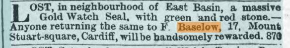1888 Frank Baselow lost watch
