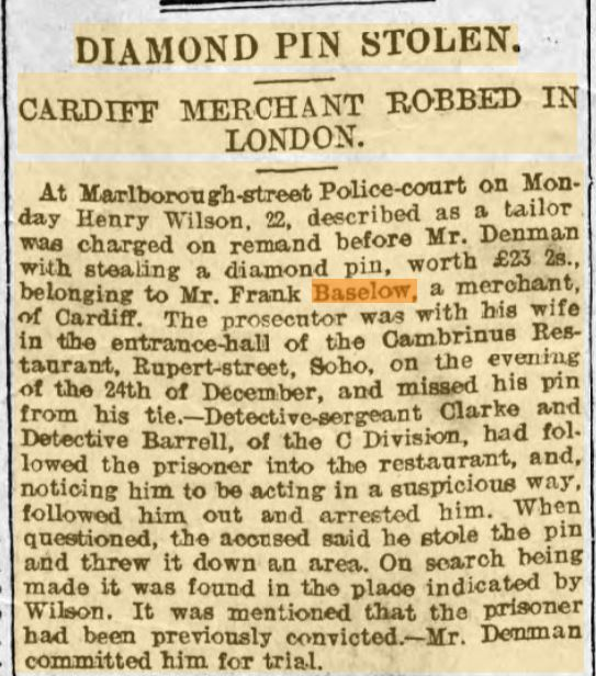 1907 Frank Baselow Diamond Pin Stolen